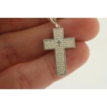 Pingente Crucifixo Oração Do Pai Nosso Em Prata 925