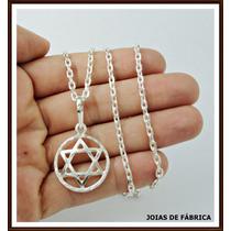 Cordão Com Pingente Estrela De Davi Em Prata 950