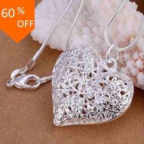 Pingente-colar Coração Vazado - Prata 925