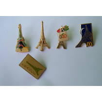 5 Bottons Pins Paris Torre Eiffel Coleção Países França