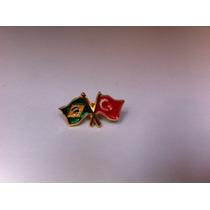 Pins Da Bandeira Do Brasil X Turquia