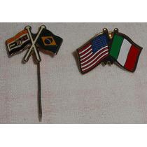 Lote C/2 Pins Bandeiras Brasil África Do Sul U.s.a. Itália