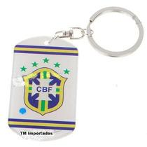 Chaveiro Escudo Brasil Cbf Copa Futebol Bola - Frete Grátis