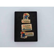 Kit Com 3 Pins Oficiais Da Copa 98 - Patrocinador Fuji