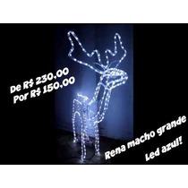Rena Macho Grande Que Mexe A Cabeça Led Azul Natal