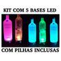 Kit 5 Bases Led Faz Garrafa Piscar Vodka, Frete Grátis