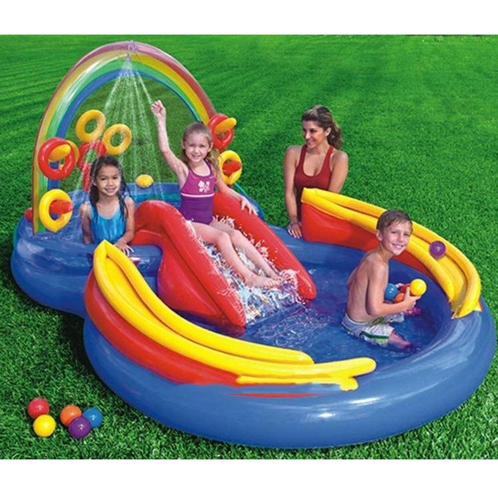 piscina infl vel infantil playground arco ris 246 lts