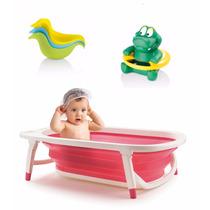 Banheira Portátil Dobrável Rosa +patinhos+termômetro D Banho