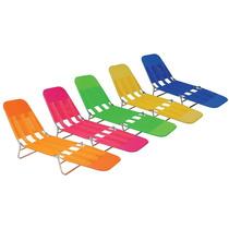 Kit C/ 02 Cadeiras Espreguiçadeira Praia Piscina Dobrável