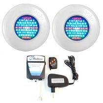 Kit Iluminação Piscina 2 Refletores Led 65 Abs Rgb + Comando