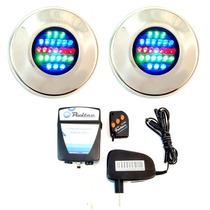 Kit Iluminação Piscina 2 Refletores Led 25 Colorido +comando