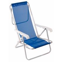 Cadeira De Praia Reclinável 8 Posições Alumínio Azul - Mor