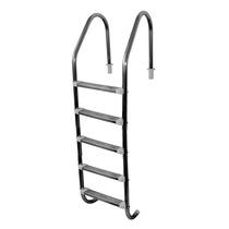 Escada Para Piscina Em Aço Inox C/ Cinco Degraus Em Aço Inox