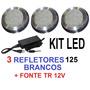Kit 3 Led Brancos Inox 125 + Fonte Eletronica Para Piscina