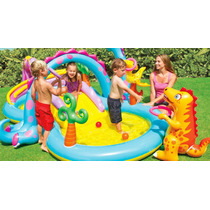 Piscina Dinolândia C/ Escorregador Intex 280l Playcenter 6x1