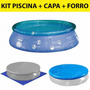 Kit Piscina Inflavel 2400 Litros Splash Fun + Capa + Forro