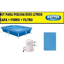 Capa Para Piscina 5000 Litros Premium + Forro + Filtro 220v