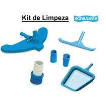 Kit Limpeza Piscina Aspirador Jumbo Peneira Escova Adaptador