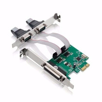 Placa Pci-e Express Com 2 Portas Serial Db9 Rs232, Paralela
