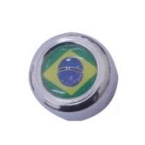 Kit 4 Capa Cromada Brasil E Parafuso Placa Celta Uno Gol