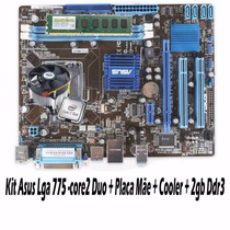 Kit Asus Lga 775 -core2 Duo + Placa Mãe + Cooler + 2gb Ddr3