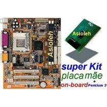 Kit Placa Mãe C/ Vídeo E Som On-board+pentium Iii 800+cooler