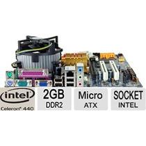 Kit Completo Placa Mãe Intel Lga 775 + Celeron 2.0 + 2 Giga