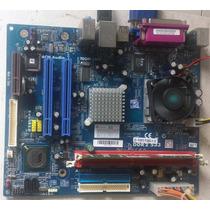 Placa Mãe Phitronics Pc2500 + Processador + 1gb De Ram Ddr2