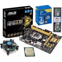 Kit Intel Pentiun Dual Core G3250+placa H81+ 4gb Kingston
