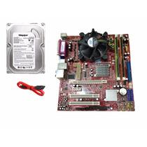 Kit Placa Mãe, Processador Core 2 Duo, Memória 2gb, Hd 160gb