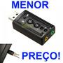 Placa De Som E Microfone Usb Externa Audio 3d 7.1