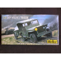 Heller. Jeep Willys Com Trailer. Esc.1.35.kit Para Montar.