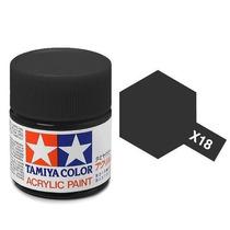 Tamiya X-18 Semi Gloss Black Pote 23ml Tinta Plastimodelismo