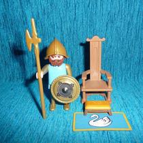 Playmobil-081 - Geobra Medieval Trono Do Cisne E Soldado