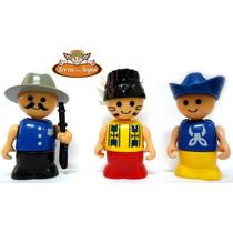 3 Bonecos Faroeste - Tipo Playmobil - Frete Grátis
