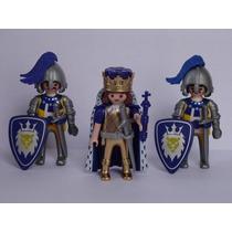 Playmobil Medieval Blue Warriors Rei 2 Soldados Monte Tropa