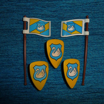 Brq - Playmobil 3 Escudos 2 Bandeiras Cisne Medievais