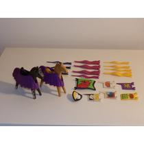 Playmobil Medieval - Cavalos, Mantas, Bandeiras Para Justas