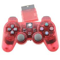 Controle Sem Fio Playstation 2 2.4ghz Dualshock Ps2 Vermelho