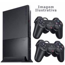 Playstation 2 Slim Ps2 C/ 70 Jogos +destravado +2 Controles