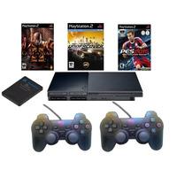 Playstation 2+play2+2contrdualshock+mcard+10 Jogos De Brinde