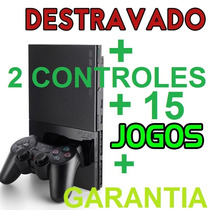 Playstation 2 Slim Destravado Completo +2 Controles+15 Jogos
