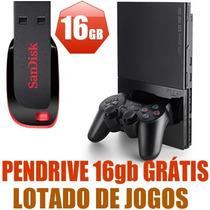 Playstation2 Ps2 Com Pendrive16gb+ Memorycard + Lotado Jogos