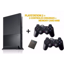 Playstation 2 Destravado + 2 Controles+ Memorycard +10 Jogos