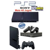 Playstation 2 Destravado + 1 Controle+memory Card+45 Jogos