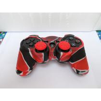 Capa E Grips Para Controle Ps3 Camuflado Vermelho
