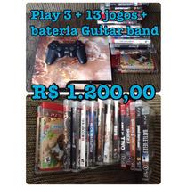 Play 3 + 13 Jogos + Bateria Guitar Band