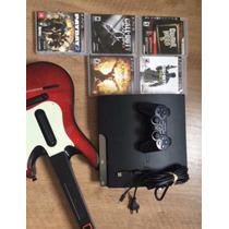 Ps3 Com 5 Jogos + Guitarra Guitar Hero