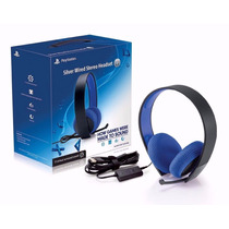 Headset Oficial Sony Silver Wired Ps4, Ps3, Pc E Vita