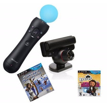Playstation Move Ps3 Kit: 2 Jogos + Camera + Controle Move
